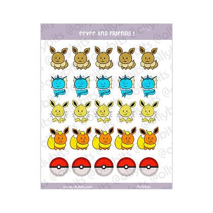 B102 - Eevee & Friends 1 Sticker Sheet
