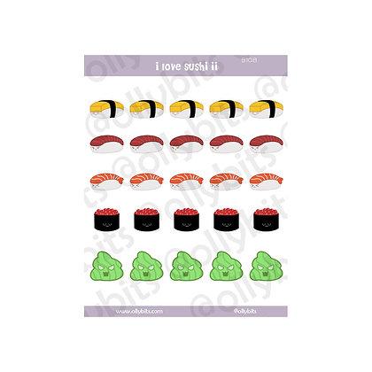 B108 - I Love Sushi 2 Sticker Sheet