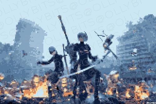 Nier Automata Pixel Art 11x17 Poster