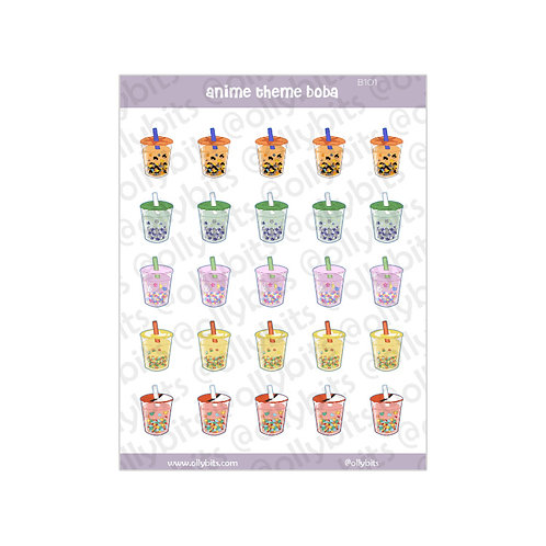 B101 - I Love Boba & Anime Sticker Sheet