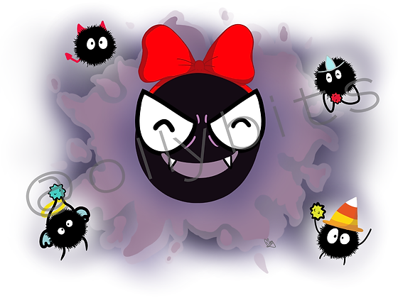 Ghastly & Soot Sprite Costume Fun - Halloween Pokemon x Studio Ghibli 4x6 Print