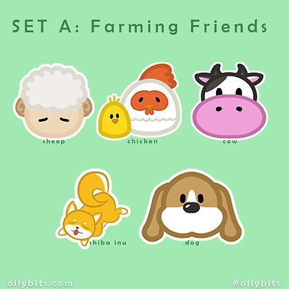 "Farming Friends // Harvest Moon Story of Season Matte Vinyl Sticker (2"")"