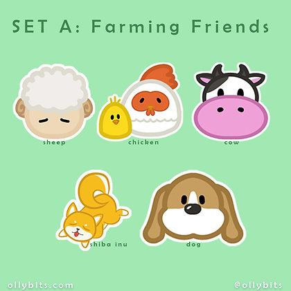 "Farming Friends // Harvest Moon Story of Season Vinyl Sticker (2"")"