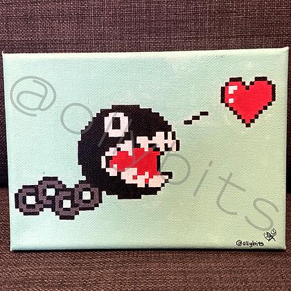 Chain Chomp Pixel Art Painting Original