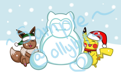 Pikachu & Eevee's Snow Day 4x6 Print & Postcard Illustration