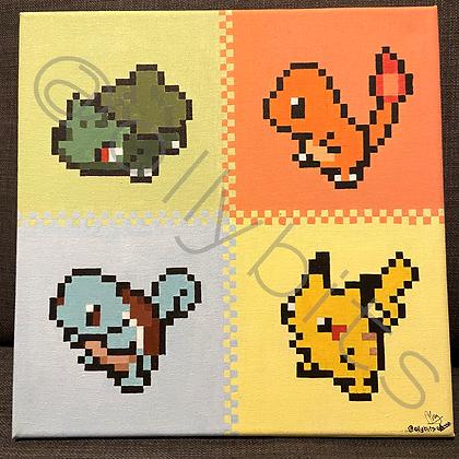 Pokemon 1st Generation Starters Pixel Art Painting Original