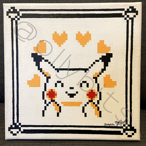Pikachu Hearts Emotion Pokemon Yellow Pixel Art Painting Original