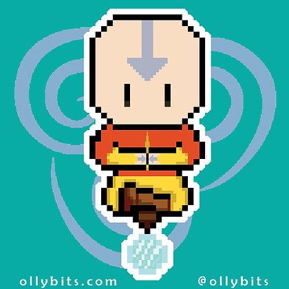 Avatar: The Last Airbender Aang Pixel Art Acrylic Charm