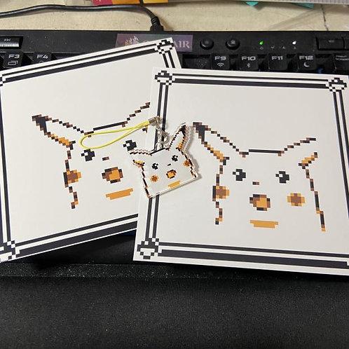 Shocked Pikachu Meme x Pokemon Yellow Reaction Pixel Art 5x5 Print