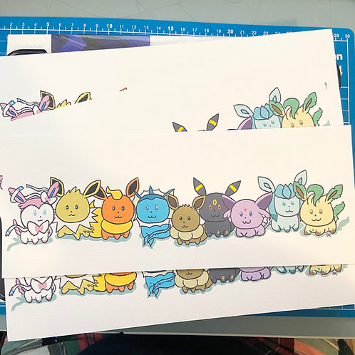 Eevee & Friends 4x10 Print