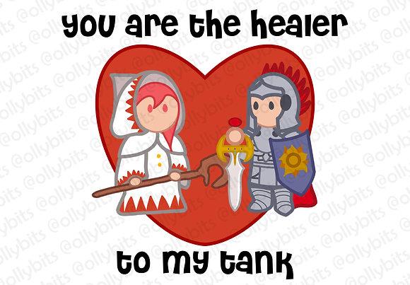 Healer To My Tank 4x6 Print & Postcard Illustration