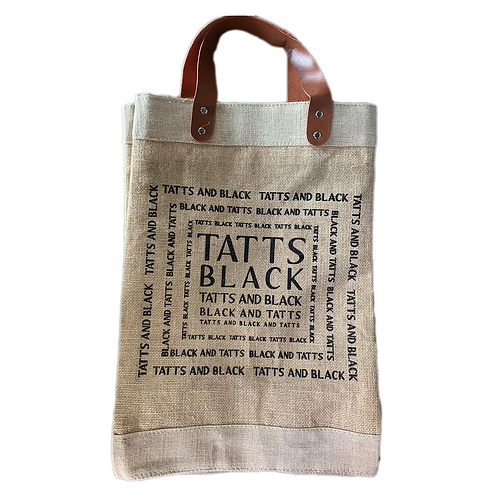Tatts & Black Jute Tote