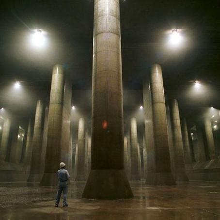 O gigantesco sistema de drenagem de água da chuva de Tóquio