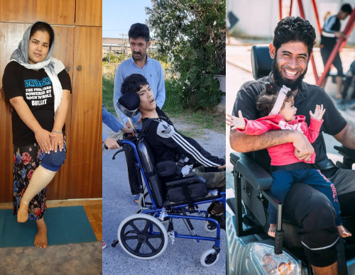 Zenaib with her new Prosthetic leg, Cerebral Palsy wheelchair for Rahmatulla Heydari, whith cerebral palsy desorder, and Electric Wheelchair for Khalid Alafat, with brain injury after a bomb explotion.