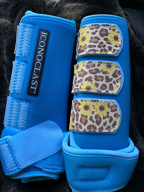 Front medium aqua cheetah/sunflower tabs