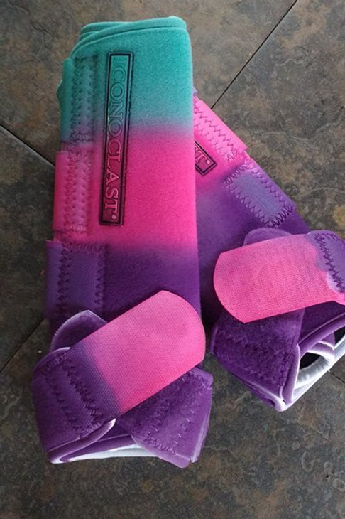teal/pink/purple Iconoclast Ready to ship dyed boots!