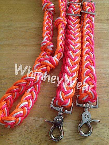 pink, orange and white reins!
