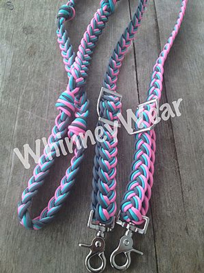 light pink, grey and turquoise reins!