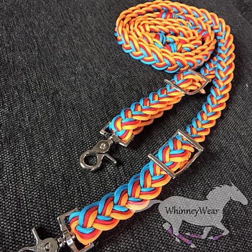 Orange red and turquoise reins!