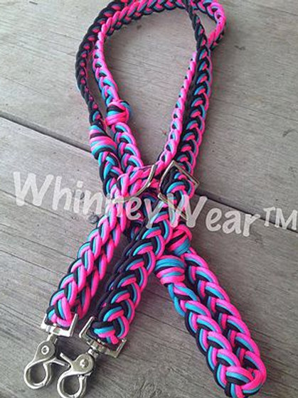 rasberry, turquoise and black reins!