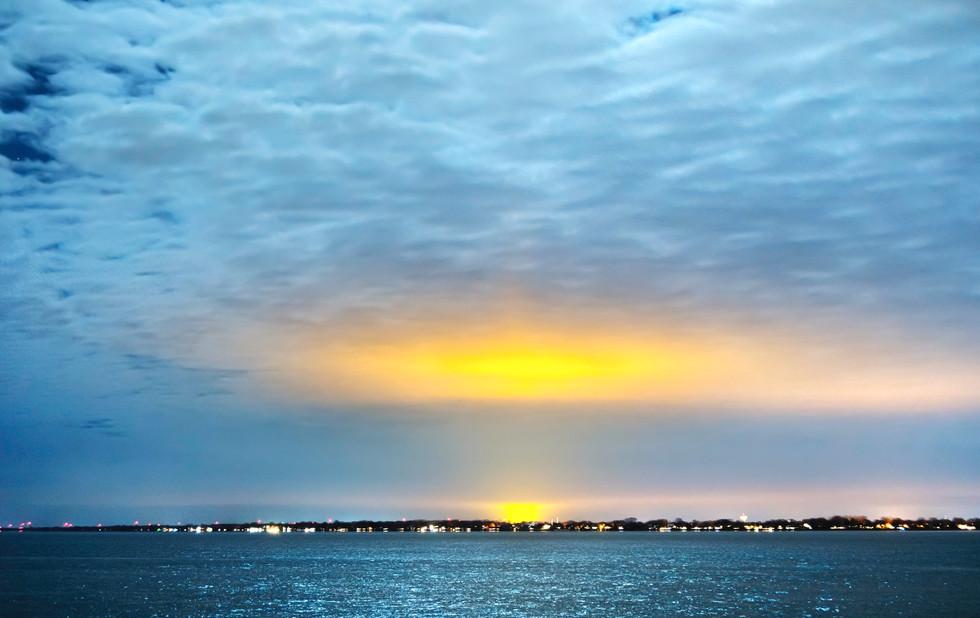 Transcontinental Light Pollution. Grosse Pointe, Michigan. 07 December 2019, 6:42 P.M.