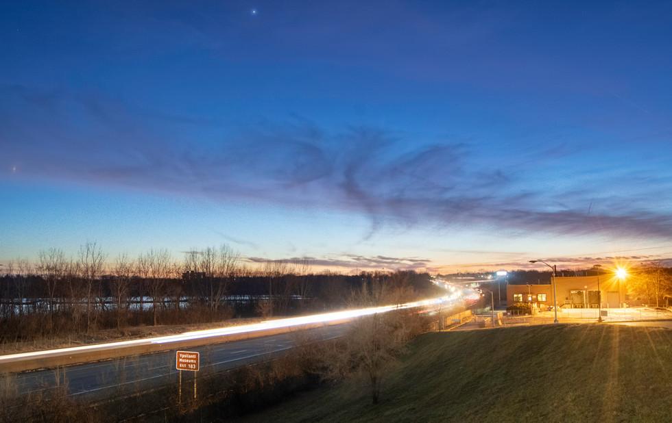 Travelers on I-94. Ypsilanti, Michigan. 02 February 2020, 6:37 P.M.