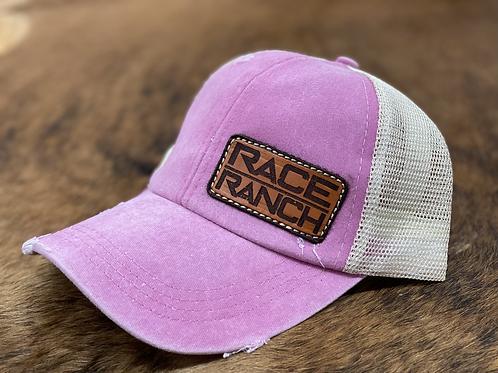 RRW - Race Ranch Distressed Pink / Khaki Ponytail Patch Hat
