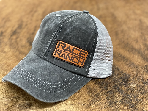 RRW - Race Ranch Distressed Black / Charcoal Ponytail Patch Hat
