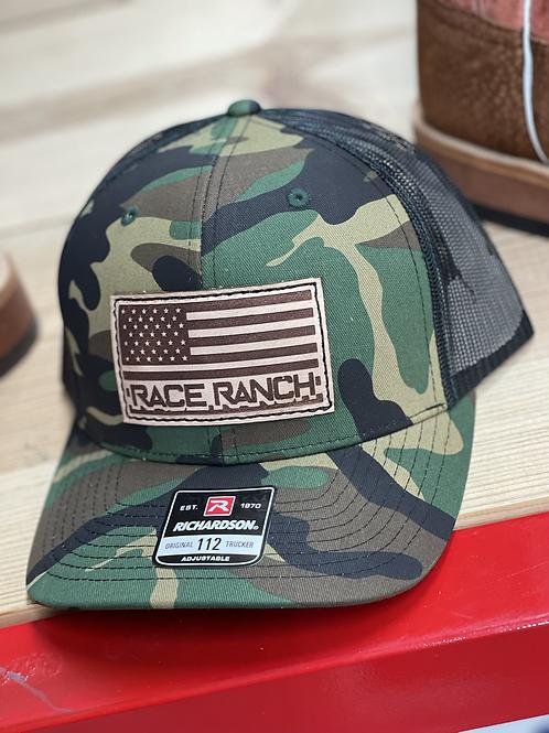RRW - 112 Race Ranch Camo Flag Patch Hat