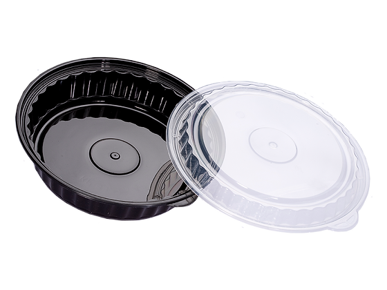 1050ML ROUND WAVEBOX FOOD CONTAINER WITH CLEAR LID (150SET/CARTON)