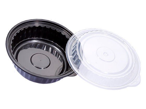 480ML ROUND WAVEBOX FOOD CONTAINER WITH CLEAR LID (150SET/CARTON)