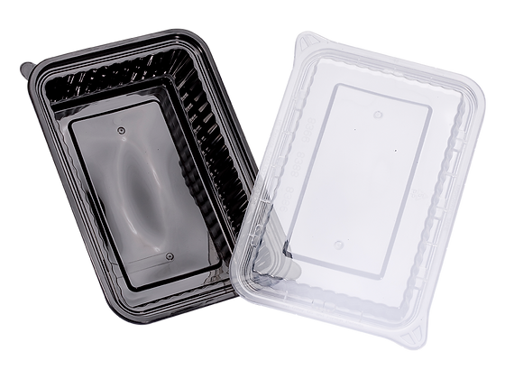 1140ML RECTANGULAR WAVEBOX FOOD CONTAINER WITH CLEAR LID (150SET/CARTON)