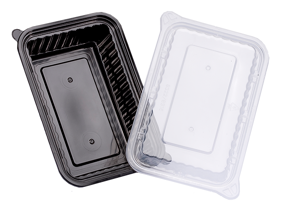 720ML RECTANGULAR WAVEBOX FOOD CONTAINER WITH CLEAR LID (A CARTON 150SET)