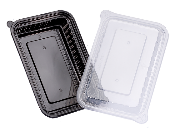 480ML RECTANGULAR WAVEBOX FOOD CONTAINER WITH CLEAR LID (150SET/CARTON)