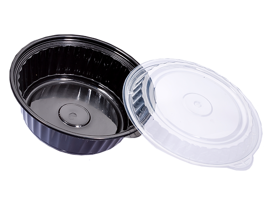 960ML ROUND WAVEBOX FOOD CONTAINER WITH CLEAR LID (150SET/CARTON)