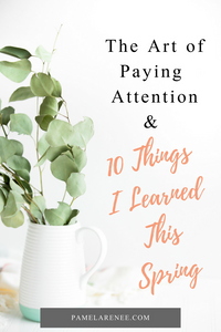 The Art of Paying Attention & 10 Things I Learned This Spring / As one season transitions into another, take the time to reflect on what you've learned and lessons you want to carry forward - the big and the small, the silly and the profound. You can learn something from anything, if only your eyes are open. Intentional - purpose - habits - spiritual growth - personal growth - encouragement - faith - Jesus - Christian - motherhood - parenting | www.pamelarenee.com