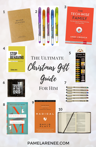 The Ultimate Christmas Gift Guide For Christians // Purposeful and impactful gift ideas that will equip and inspire those in your life to pursue greater intimacy and growth with Jesus.  For Her // Gospel - reading - booklist - books - husband - brother - son - friend - Christmas presents - intentional holidays - purposeful - prayer - personal growth - father - spiritual growth - faith | www.pamelarenee.com
