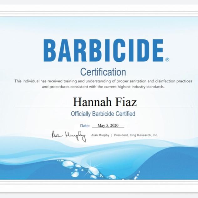 BARBICIDE CERTIFICATION