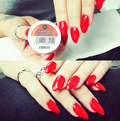 Dip Powder Acrylic Red Nails