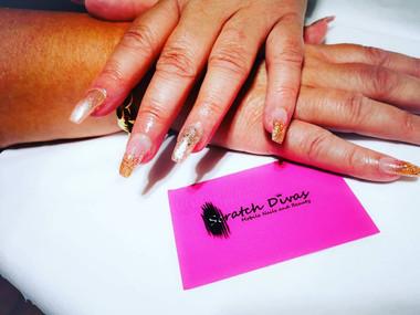Glitter Gold Hybrid Gel Nails 2020