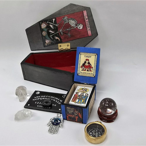CASKET Miniature Fortune Teller Kit - Ouija, Tarot, Crystal Ball