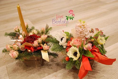 Centrotavola invernale con fiori (€35/110)