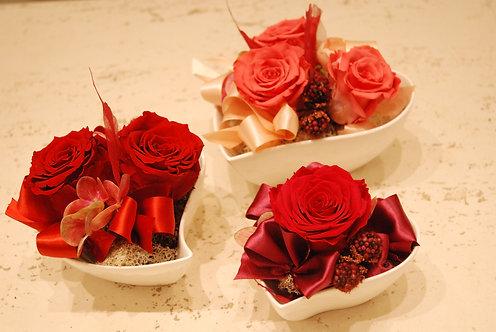 Cuori di ceramica con rose stabilizzate (€18/38)