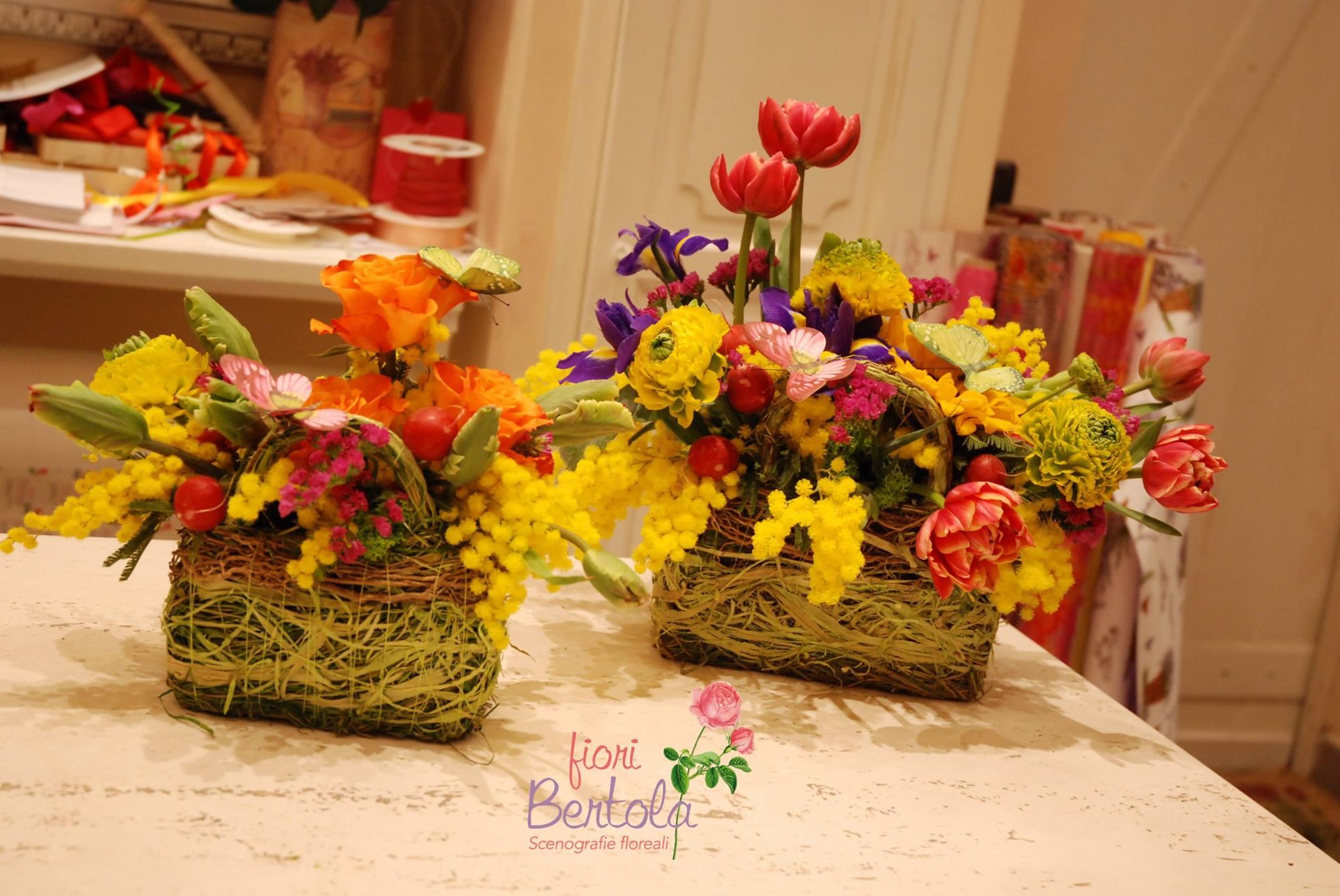 cestini fiori e mimosa