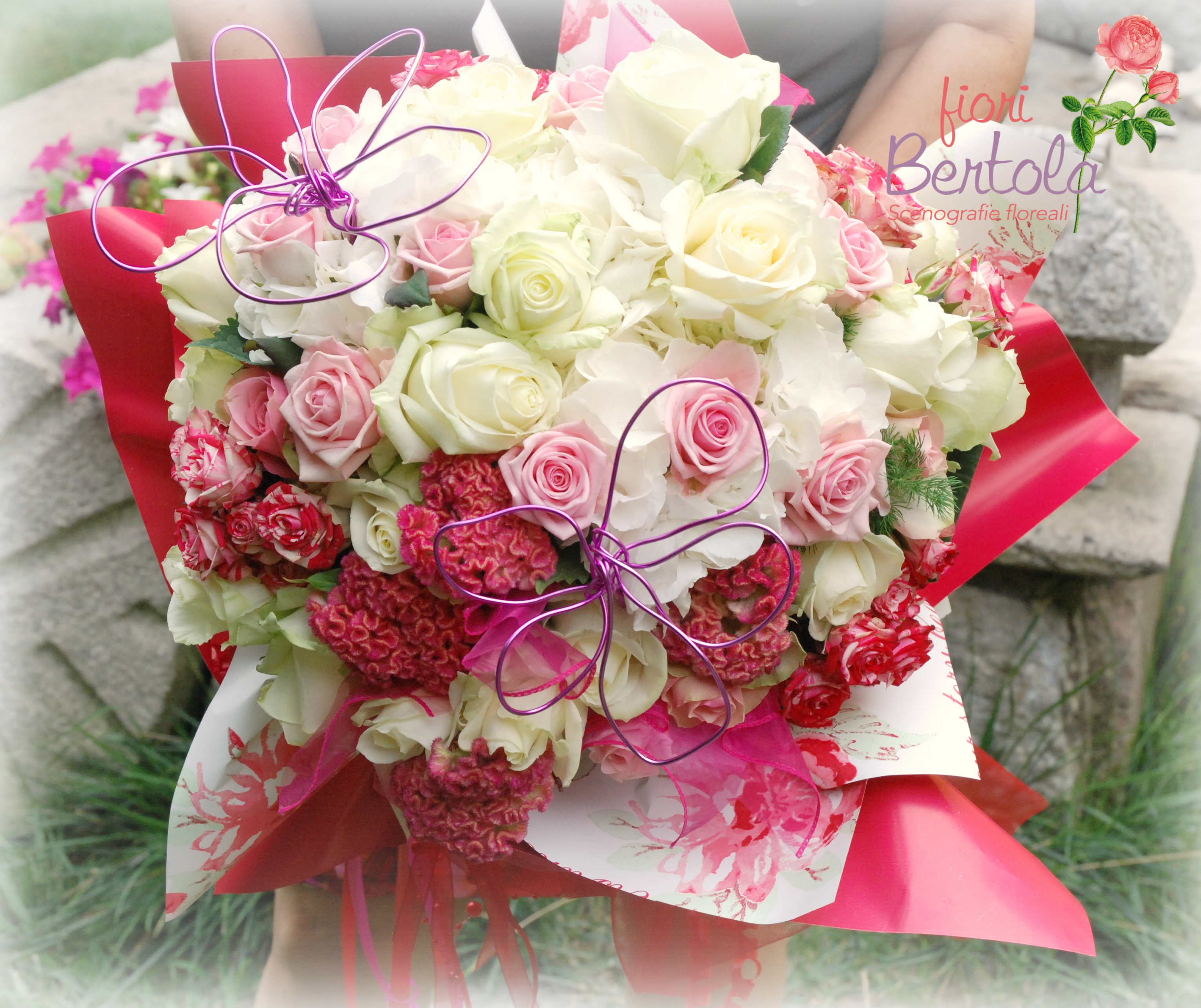 Bouquet rose bianche e rose rosa