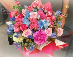 Bouquet rosa, azzurro, fuxia