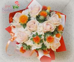 Bouquet colori arancio/rosa cipria