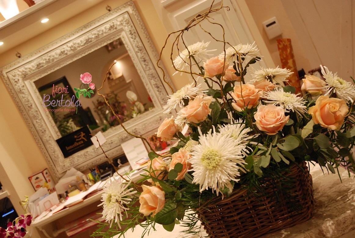 cesto funebre crisantemi