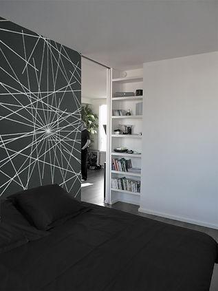 réhabilitation appartement 75015, niche, porte coulissante, porte à galandage, porte toute hauteur