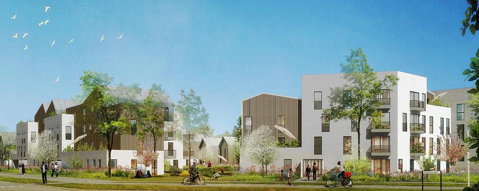 vue en perspective depuis espace public opération urbanisme et architecture par ll'agence TNT Architecture architectes à paris pour la constructoin de logements sociaux à Bussy Saint Georges
